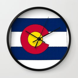 Colorado Map with Coloradan Flag Wall Clock