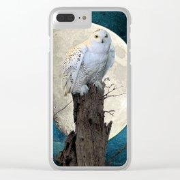 White Snowy Owl Bird Moon Blue A141 Clear iPhone Case