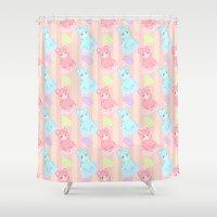 macaron Shower Curtains featuring Bubblegum Macaron!! by himehorse