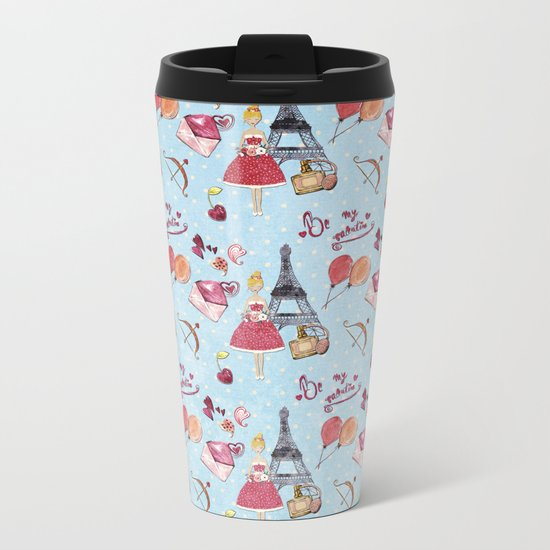 Love and Valentine in Paris France- Elegance Shopping Girly in pink on blue polkadots Metal Travel Mug