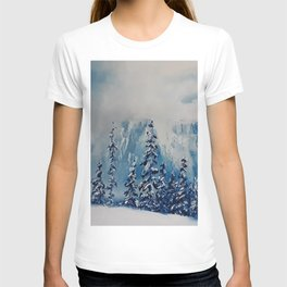 Snowy Mist landscape. Winter Scene. Snowy forest. Perfect Christmas scenery and gift, original oil painting by Luna Smith T-shirt