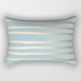 Abstract Drawn Stripes Gold Tropical Ocean Sea Blue Rectangular Pillow