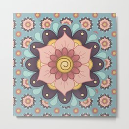 Rain Flower Mandala on Rain Metal Print