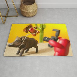 Cow Boy In Action  Rug