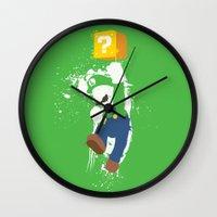 luigi Wall Clocks featuring Luigi Paint by The Daily Robot