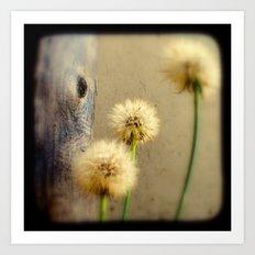 Tree Hugging Dandelions Art Print