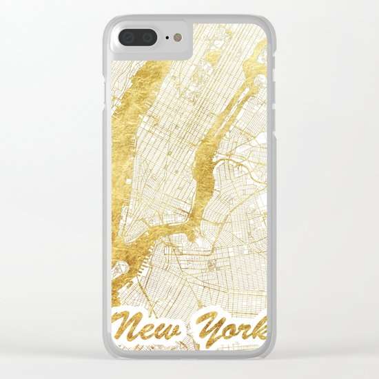 New York Map Gold Clear iPhone Case