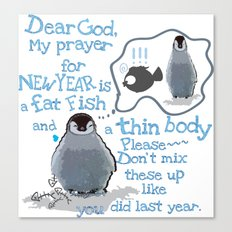 Baby penguins Funny New Year's resolution Canvas Print