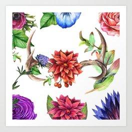 Floral Details - White Art Print