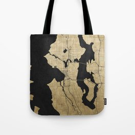 Seattle Black and Gold Street Map Tote Bag