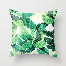 green summer leaves Throw Pillow