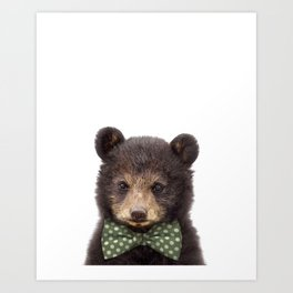 Baby Bear With Bow Tie, Baby Animals Art Print By Synplus Art Print