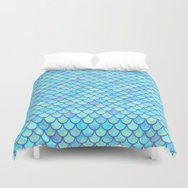 Blue Mermaid Scales Duvet Cover