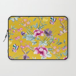 Yellow Chinoiserie Asian Floral Print Laptop Sleeve