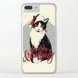 Vintage Christmas (Cat Edition) Clear iPhone Case