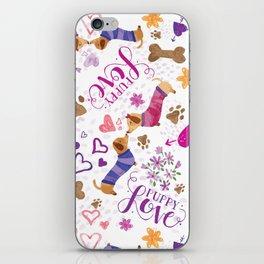 Doxie Puppy Love Pattern iPhone Skin