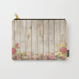Vintage Rustic Romantic Roses Wooden Plank Carry-All Pouch