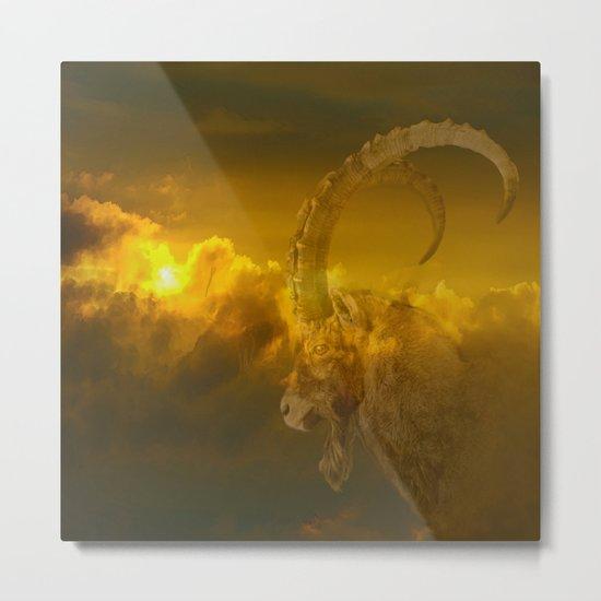 Alpine - Ibex with cloudy sunset background - #Society6 #buyart Metal Print