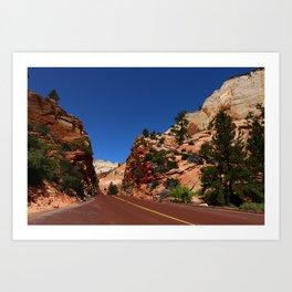 Red Road  Through Zion Park Art Print