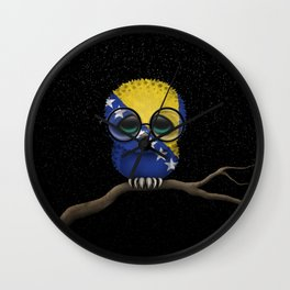 Baby Owl with Glasses and Bosnian Flag Wall Clock