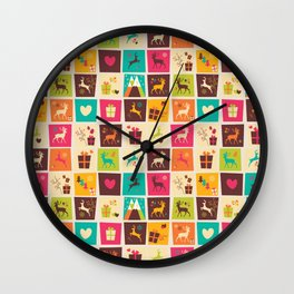 Christmas square pattern 02 Wall Clock