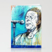 tom waits Stationery Cards featuring Blue Tom Waits by Mark Matlock