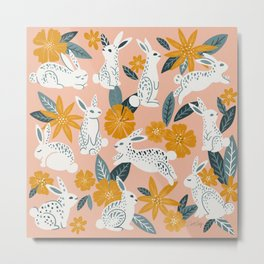 Bunnies & Blooms – Teal & Blush Metal Print