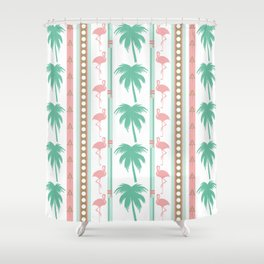 Art Deco Palm Trees and Flamingos Shower Curtain
