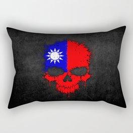 Flag of Taiwan on a Chaotic Splatter Skull Rectangular Pillow