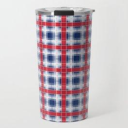 Plaid, red and blue Travel Mug