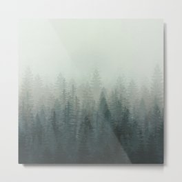 Into The Misty Nature - Turquoise Green Metal Print