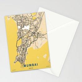 Mumbai Yellow City Map Stationery Cards