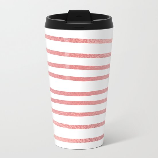 Simply Drawn Stripes Warm Rose Gold on White Metal Travel Mug