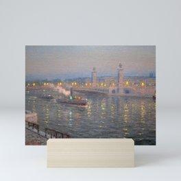 Paris, City of Lights Reflection on the River Seine; Alexander III Bridge landscape by Lionel Walden Mini Art Print