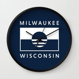 Milwaukee Wisconsin - Navy - People's Flag of Milwaukee Wall Clock