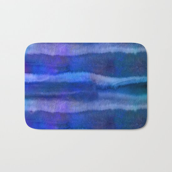 Blue abstract watercolor stripes Bath Mat