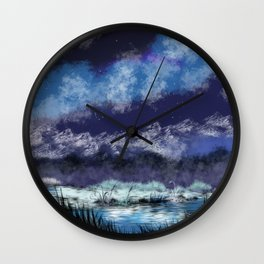 Starry night in the valley Wall Clock