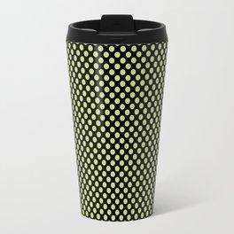 Black and Daiquiri Green Polka Dots Travel Mug