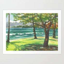 Hawaii - Waikiki Trees park Art Print