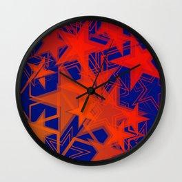 Dark blue metallic background in red stars. Wall Clock