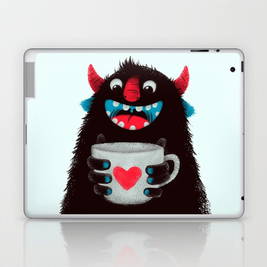 Demon with a cup of coffee (contrast) Laptop & iPad Skin