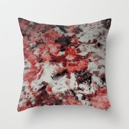 The Faces in the Ruby Red Snow Throw Pillow