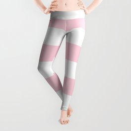 Light Soft Pastel Pink Cabana Tent Stripes Leggings