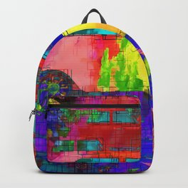 old vintage car with colorful painting texture abstract background Backpack