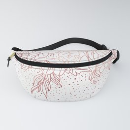 Rose gold hand drawn floral doodles and confetti design Fanny Pack