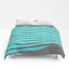 Aqua & Gray Stripes Comforters