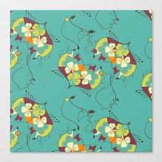 Flower hearts pattern Canvas Print