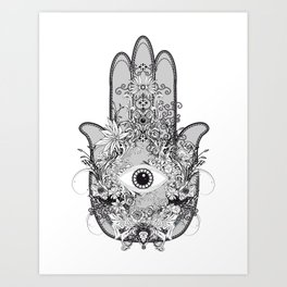 artistically decorated hand of Fatima with eye Art Print