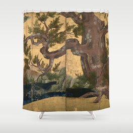 Cypress Tree - Japanese Eight-Panel Gold Leaf Screen - Azuchi-Momoyama-Period Shower Curtain
