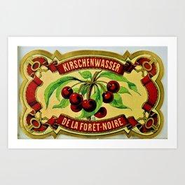 Vintage 1965 French Cherry Wine Bottle Label Kirchenwasser De La Foret-Noire Art Print